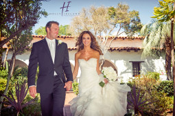 Bride and groom photos at Mission Basilica in San Diego
