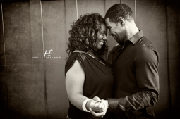 black and white Urban downtown engagement photography