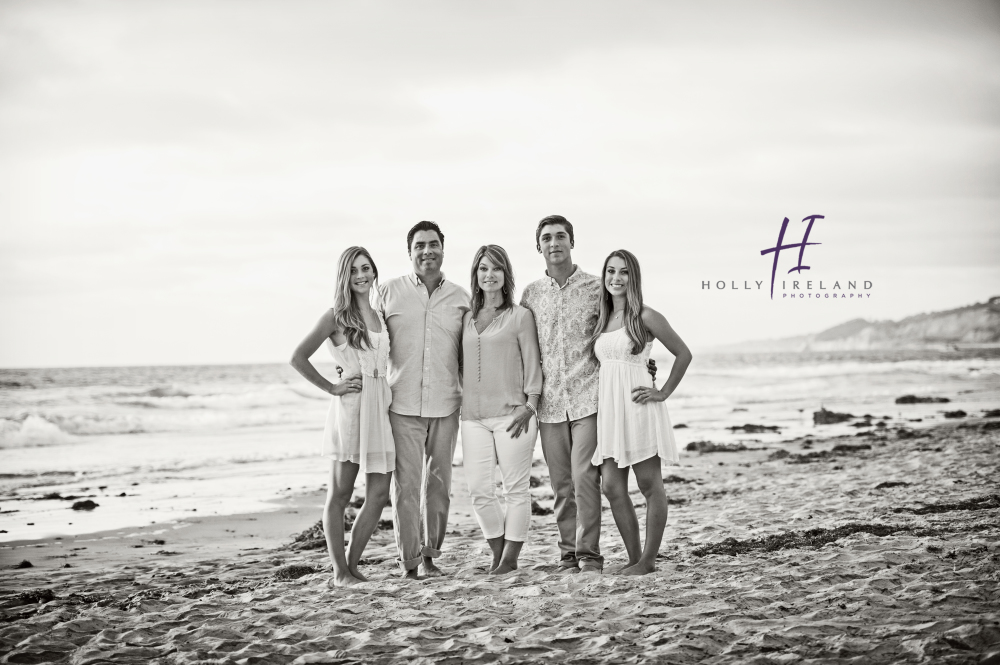 Family beach black and white photo